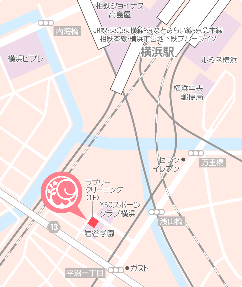 横浜駅東口より徒歩7〜8分